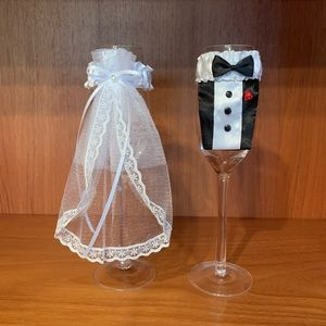 Wedding champagne flute covers